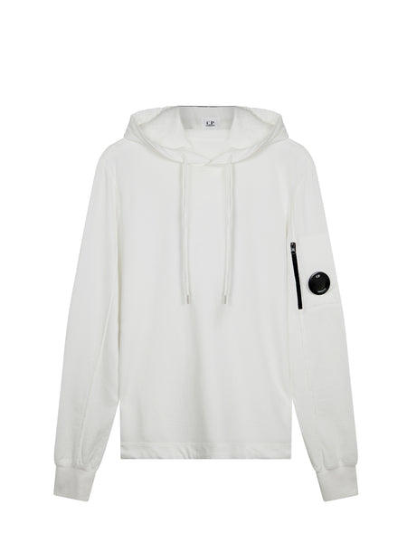 Garment Dyed Light Fleece Lens Hooded Sweatshirt in White