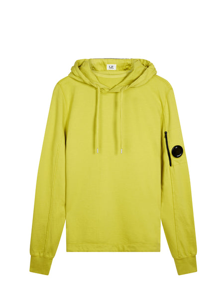 Garment Dyed Light Fleece Lens Hooded Sweatshirt in Yellow