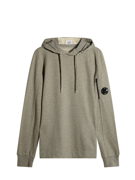 Garment Dyed Light Fleece Lens Hooded Sweatshirt in Grey