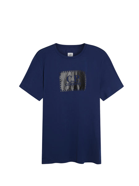 Printed Label SS T-Shirt in Blue