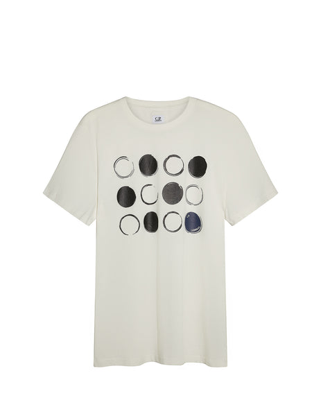 Digital Dot Print Graphic T-Shirt in White