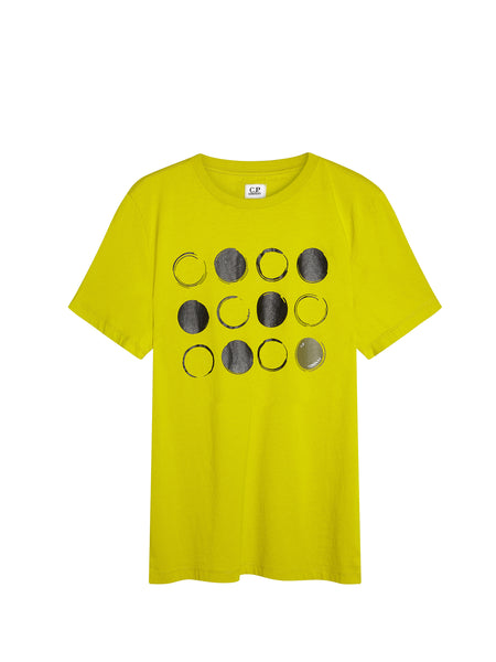 Digital Dot Print Graphic T-Shirt in Yellow
