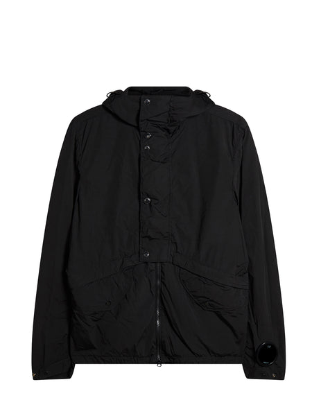 Nycra Lens Sleeve Hooded Jacket in Caviar Black