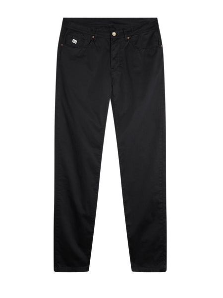 Garment Dyed Stretch Sateen Five Pocket Chino in Total Eclipse