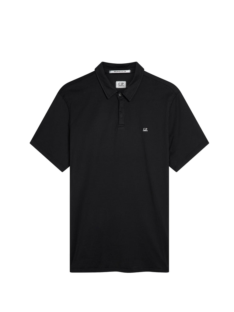 Mako Cotton Polo Shirt in Caviar Black