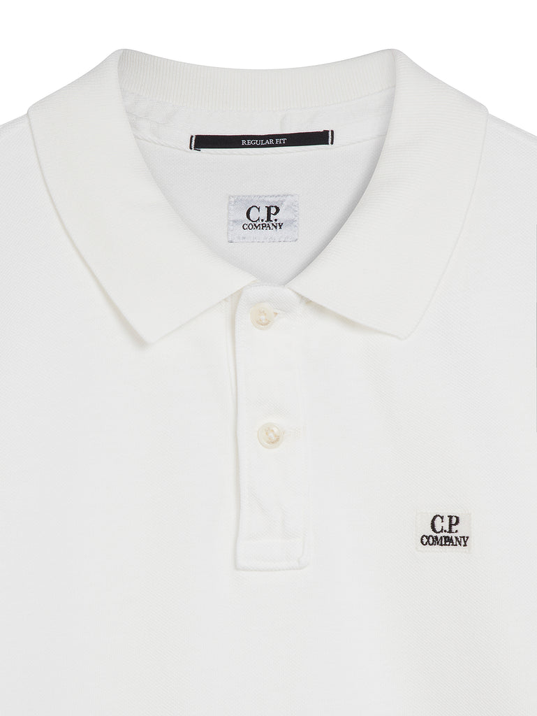 Cotton Pique Regular-Fit Polo Shirt in Tapioca White