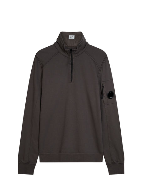 Funnel Neck Polo Sweatshirt in Raven Grey