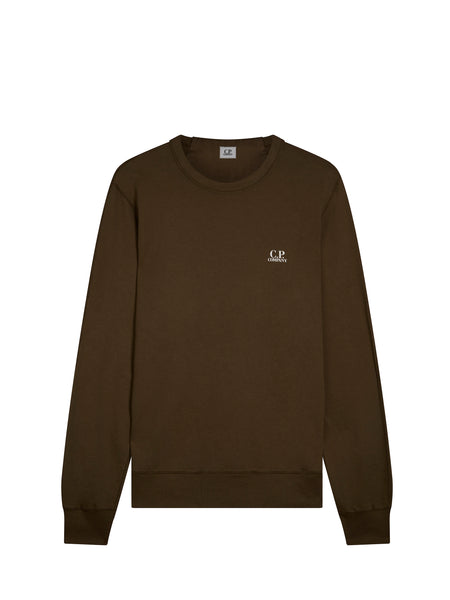 Logo Crew Neck Sweatshirt in Dark Olive