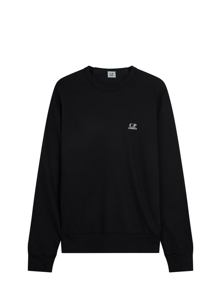 Logo Crew Neck Sweatshirt in Caviar Black