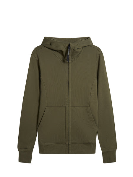Diagonal Fleece Goggle Sweatshirt in Dark Olive