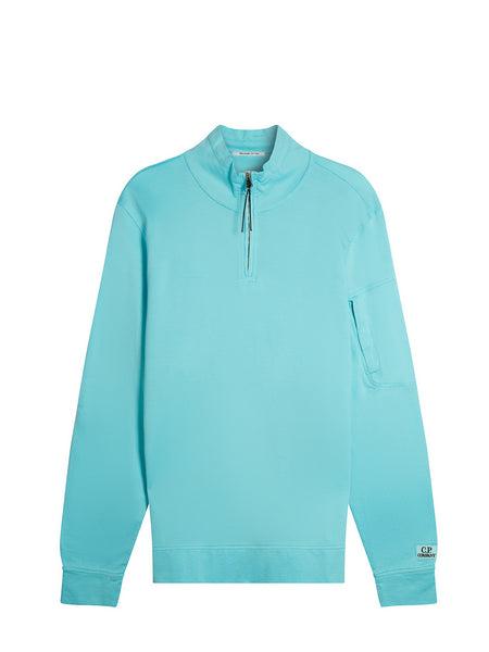 Garment Dyed Mako Fleece Sweater in Blue Radiance