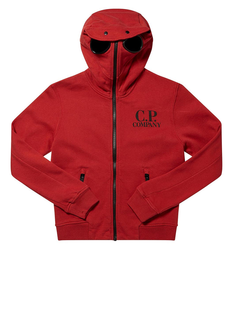 Undersixteen Goggle Front Zip Hood Sweatshirt in Red