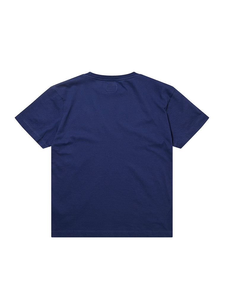 Undersixteen Logo Mako Cotton Crew T-Shirt in Blue