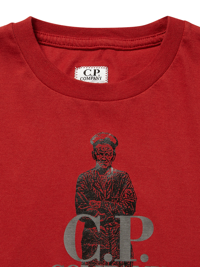 Undersixteen Sailor Print Mako Cotton T-Shirt in Red
