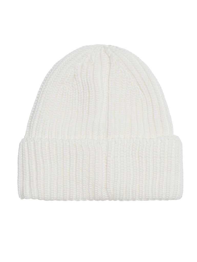 Garment-Dyed Ribbed Wool Goggle Hat in Gauze White