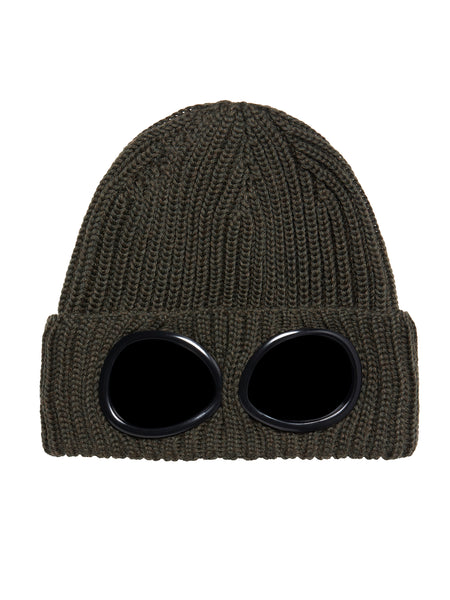Garment-Dyed Ribbed Wool Goggle Hat in Dark Olive