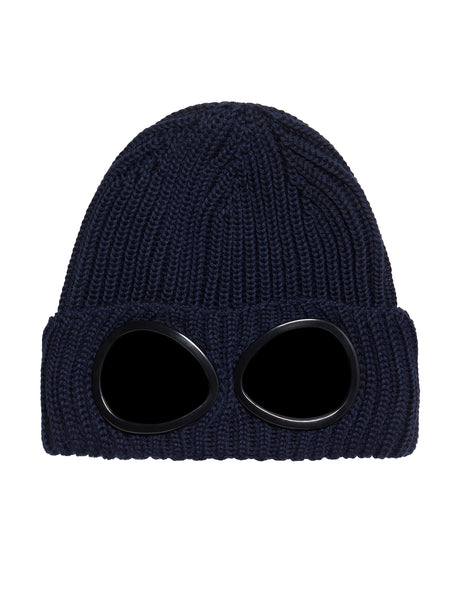 Garment-Dyed Ribbed Wool Goggle Hat in Total Eclipse