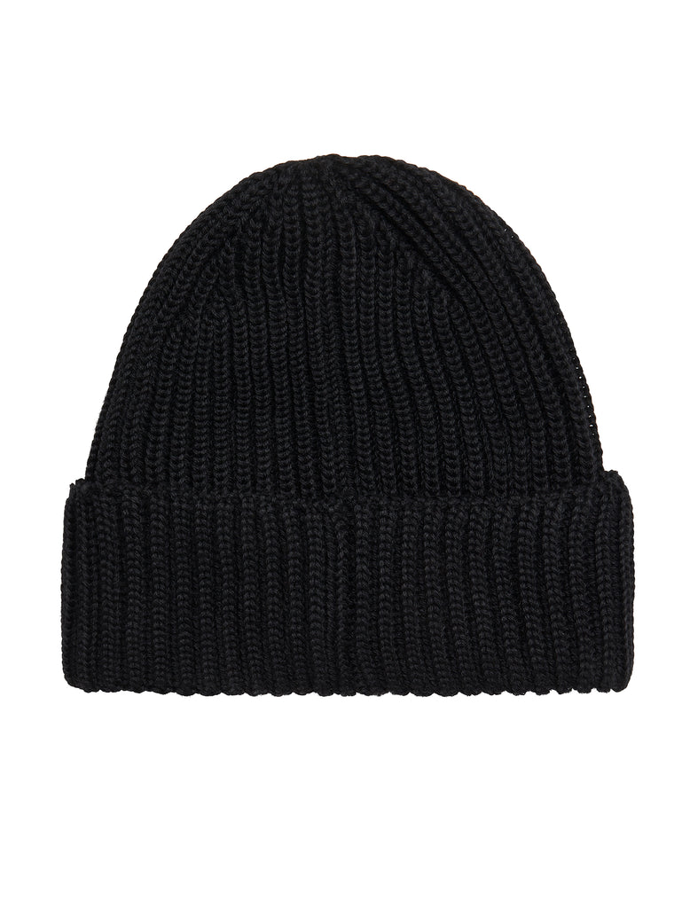 Garment-Dyed Ribbed Wool Goggle Hat in Black
