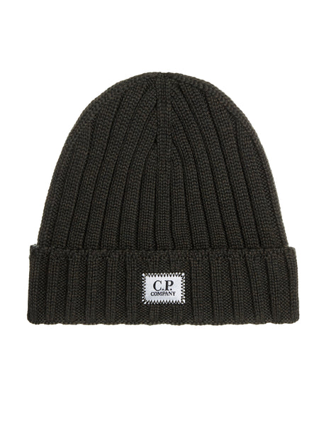 Logo Patch Ribbed Beanie Hat in Dark Olive