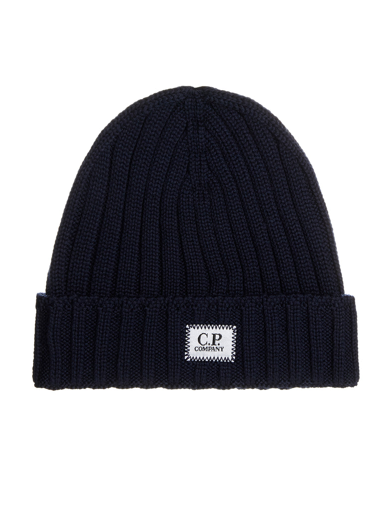 Logo Patch Ribbed Beanie Hat in Total Eclipse