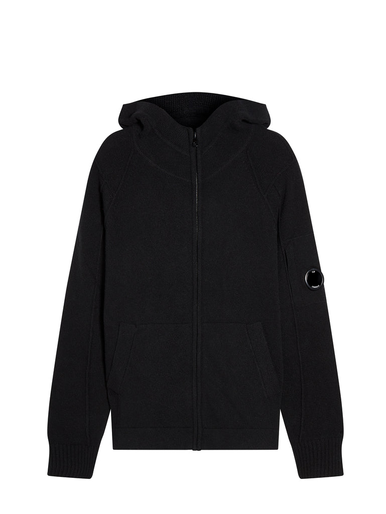 Lambswool Knitted Zip Hoodie in Black