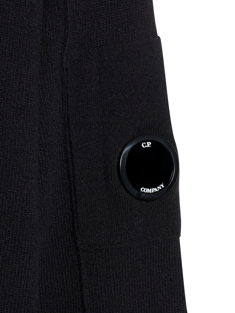 Lambswool Lens Sleeve Jumper in Black