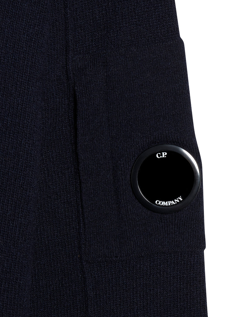 Lambswool Lens Sleeve Funnel Neck Jumper in Total Eclipse