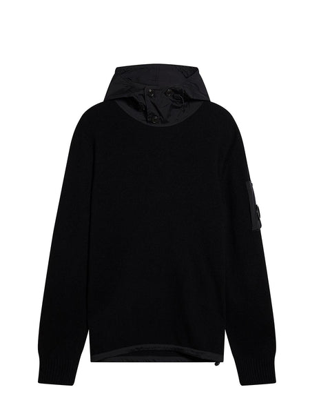 Nylon Panel Knitted Hoodie in Black