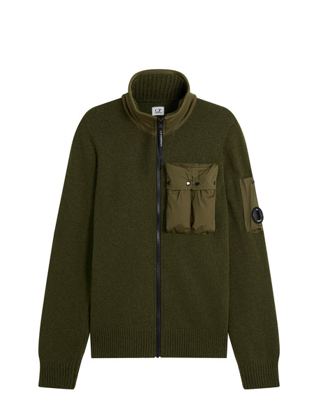 Lambswool Contrast Pocket Zip Fleece in Dark Olive
