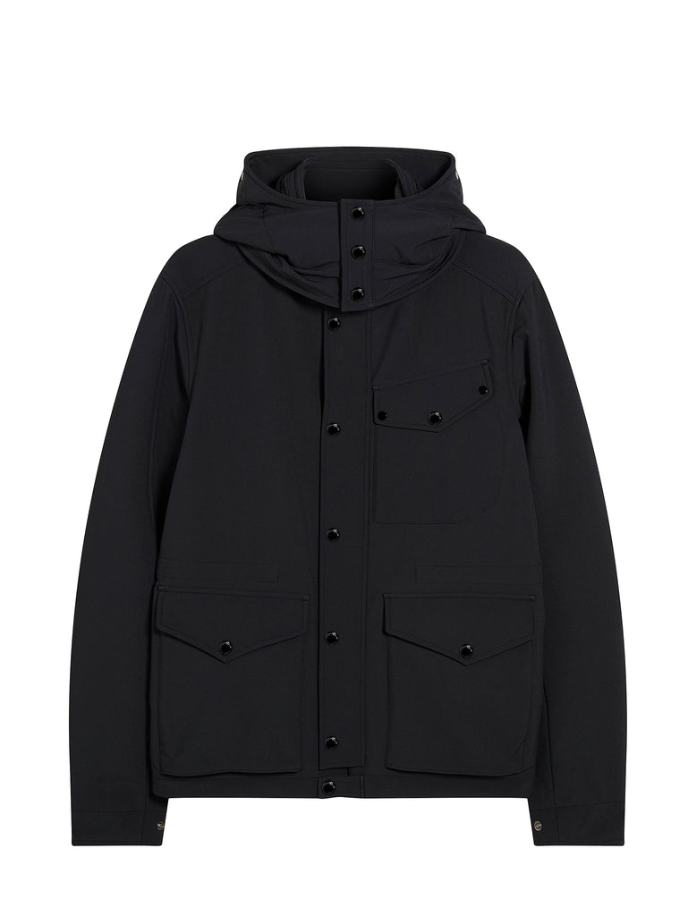 Shell Detachable Goggle Hood Jacket in Black Coffee