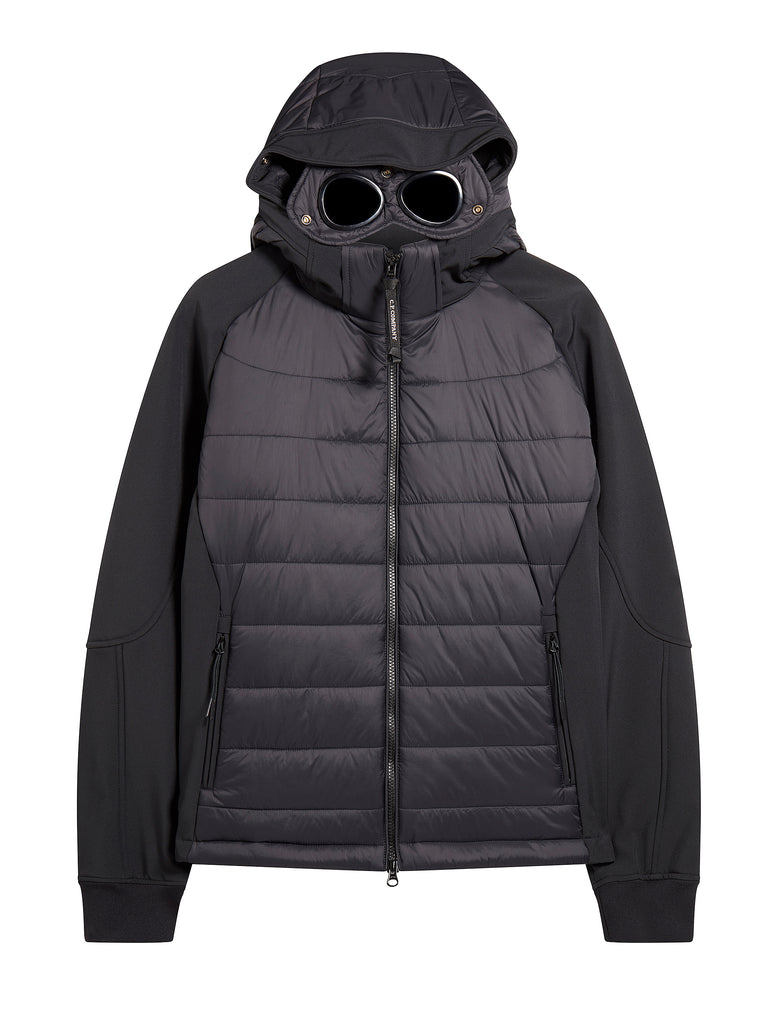 C.P. Shell Nylon Mix Hooded Goggle Jacket in Black Coffee