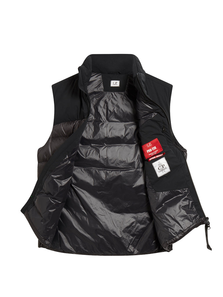 Mixed Pro-Tek Down Filled Gilet in Black Coffee
