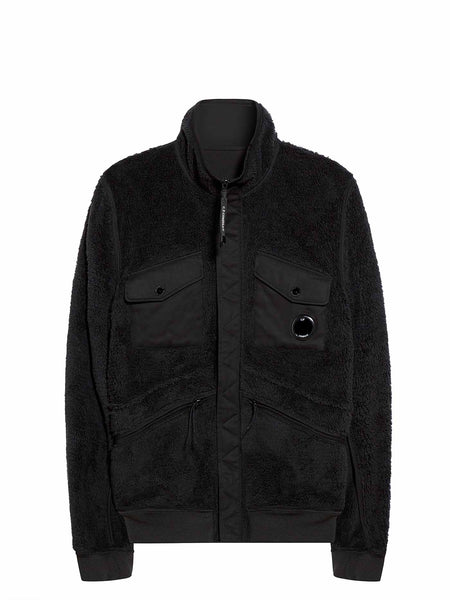 Reversible Lens Pocket Zip Fleece in Black