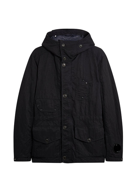 Nylon B. Multi-Pocket Goggle Hooded Jacket in Black Coffee