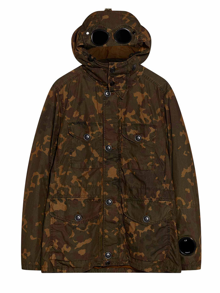 Camo Down Filled Goggle Jacket in Brown
