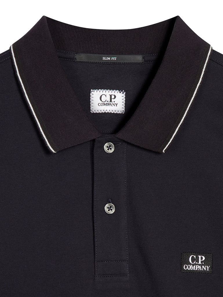 Cotton Pique Slim-Fit Long Sleeve Polo Shirt in Total Eclipse
