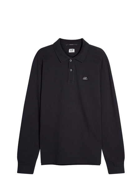 Cotton Pique Long Sleeve Polo Shirt in Total Eclipse