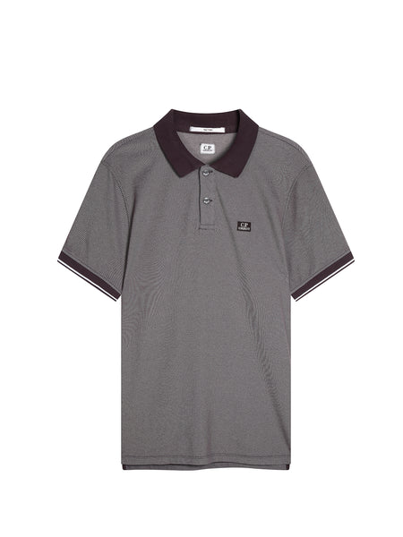 Tacting Pique Contrast Collar Polo Shirt in Black Coffee
