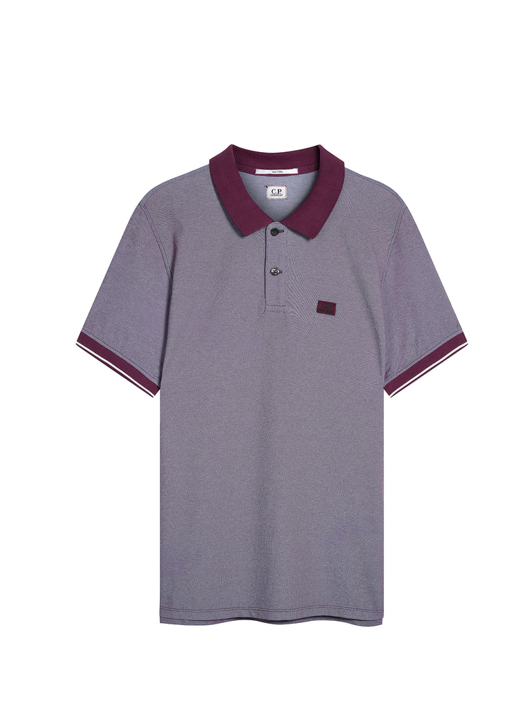 Tacting Pique Contrast Collar Polo Shirt in Gloxinia Purple