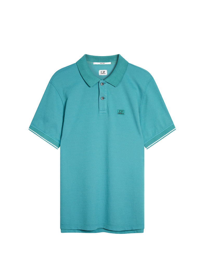 Tacting Pique Contrast Collar Polo Shirt in North Sea Blue