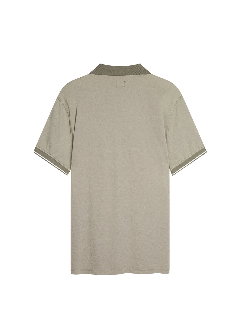 Tacting Pique Contrast Collar Polo Shirt in Sage