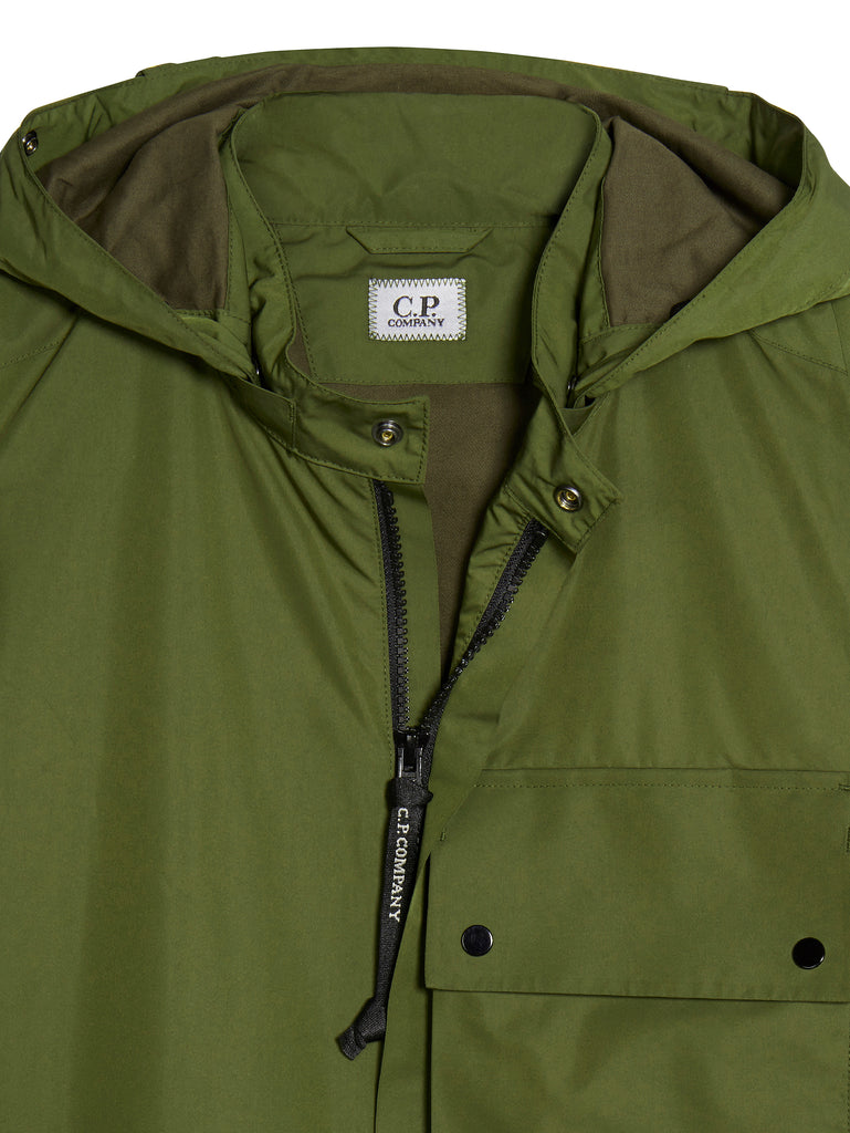 Micro-M Front Pocket Goggle Hood Overshirt in Pesto
