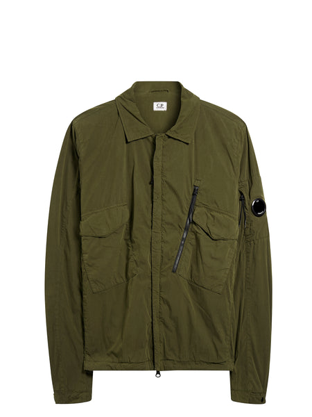 50 Fili Peach Overshirt in Khaki Green