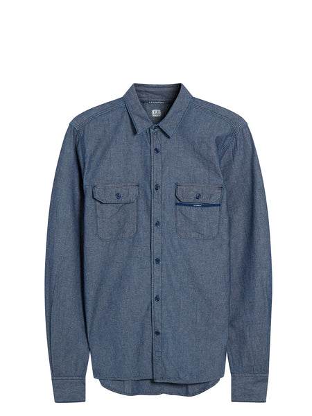 Washed Chambray Shirt in Blue
