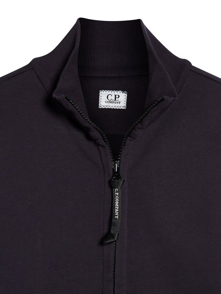 Light Fleece Lens Zip Through Sweatshirt in Total Eclipse