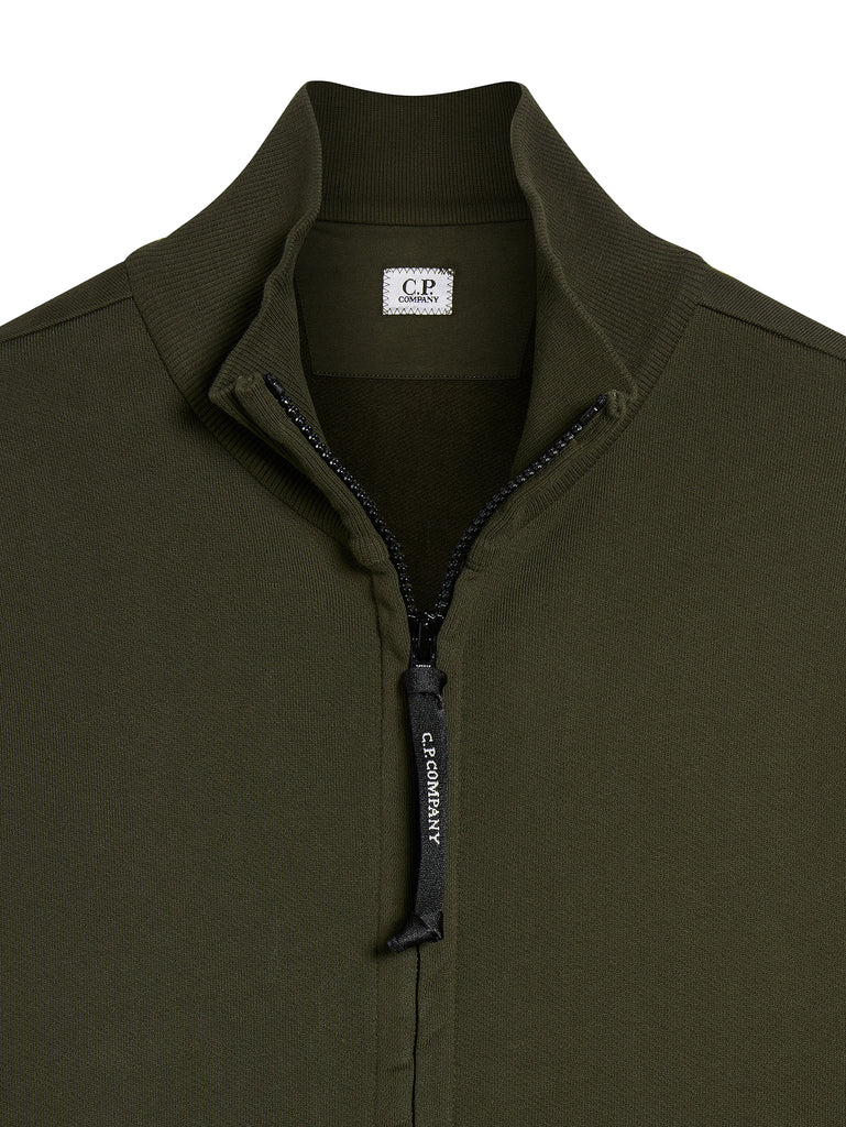 Light Fleece Lens Zip Through Sweatshirt in Cloudburst