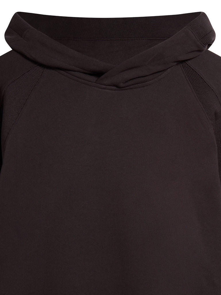 DIagonal Raised Fleece Hooded Sweatshirt in Black Coffee