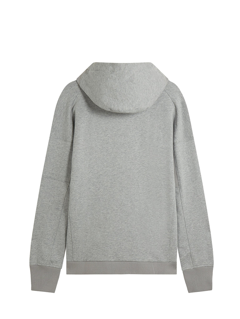 Diagonal Raised Fleece Zip Lens Sweatshirt in Grey Melange