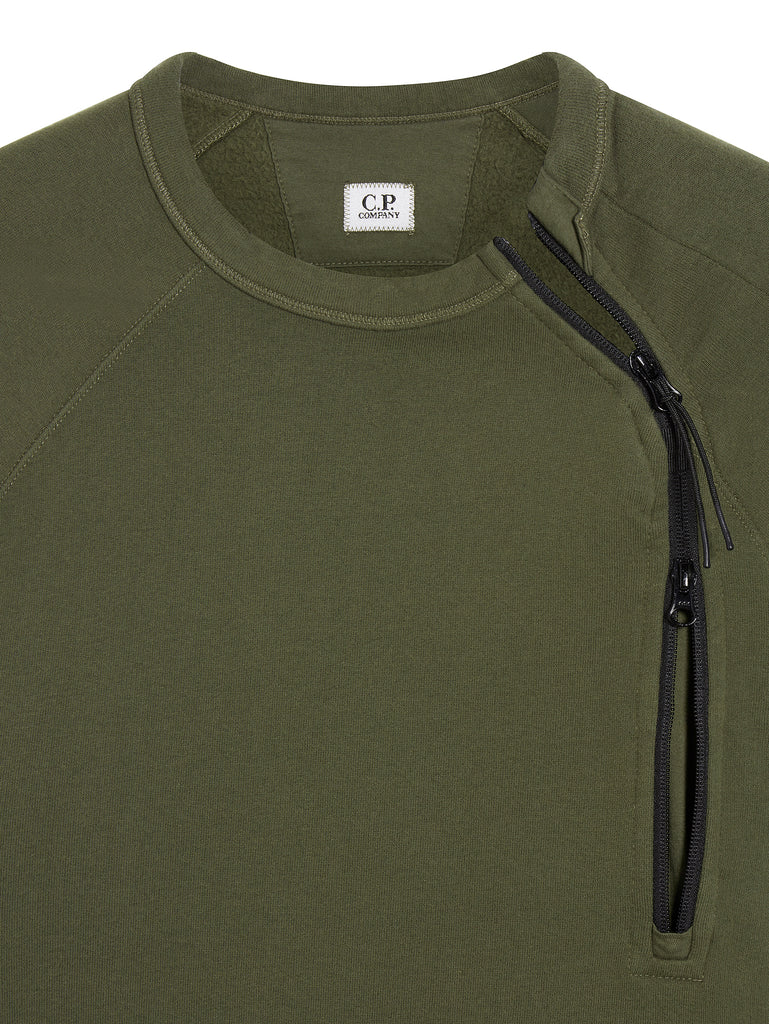 Diagonal Zip Sweatshirt in Dark Olive