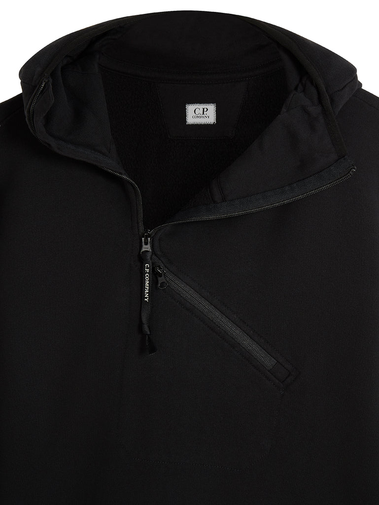 Diagonal Zip Funnel Neck Hooded Sweatshirt in Black Coffee